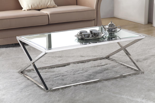 Stainless Steel Coffee Table – 8mm Tempered Mirror Glass