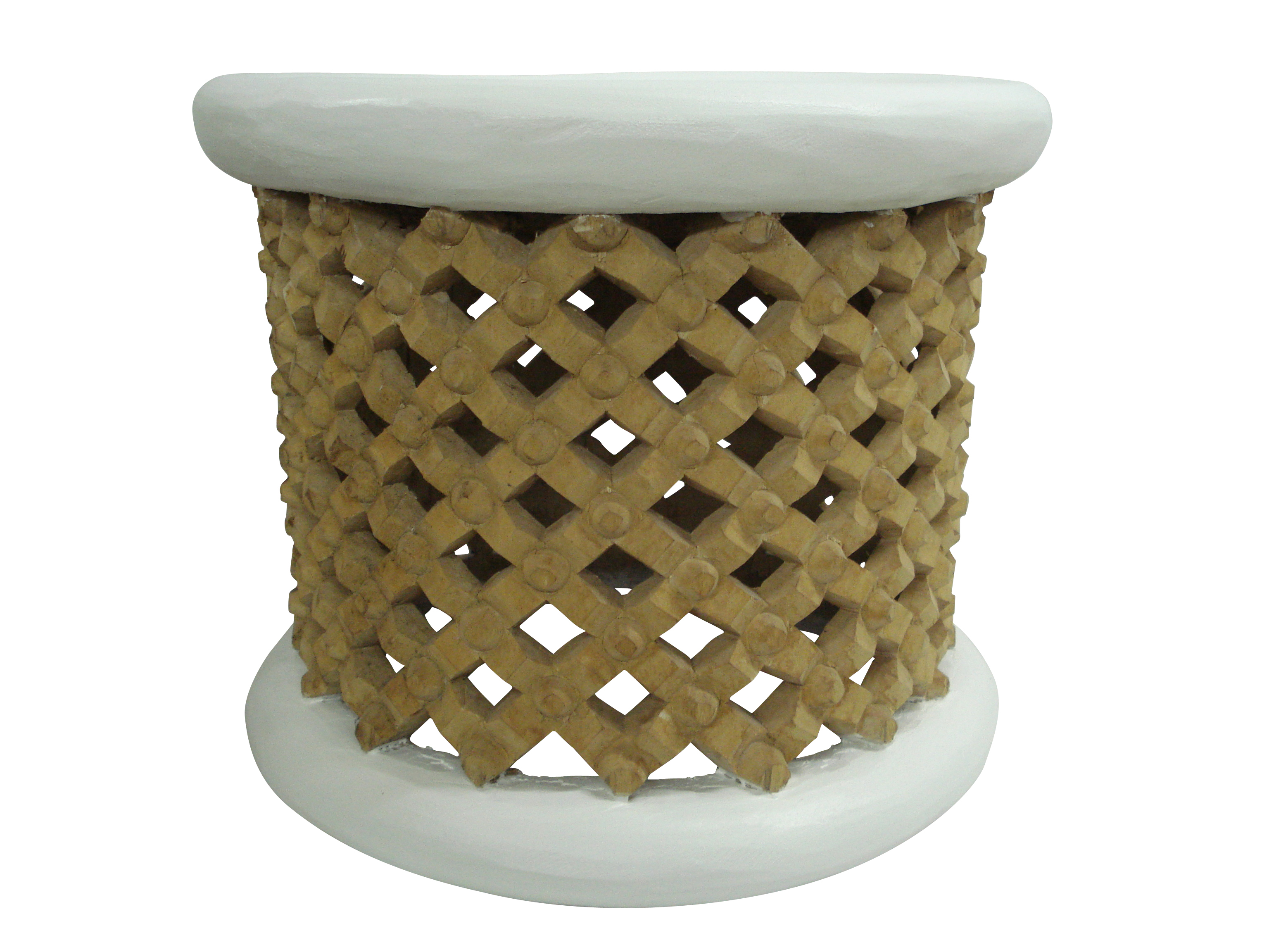 Bamileke Table – White & Natural
