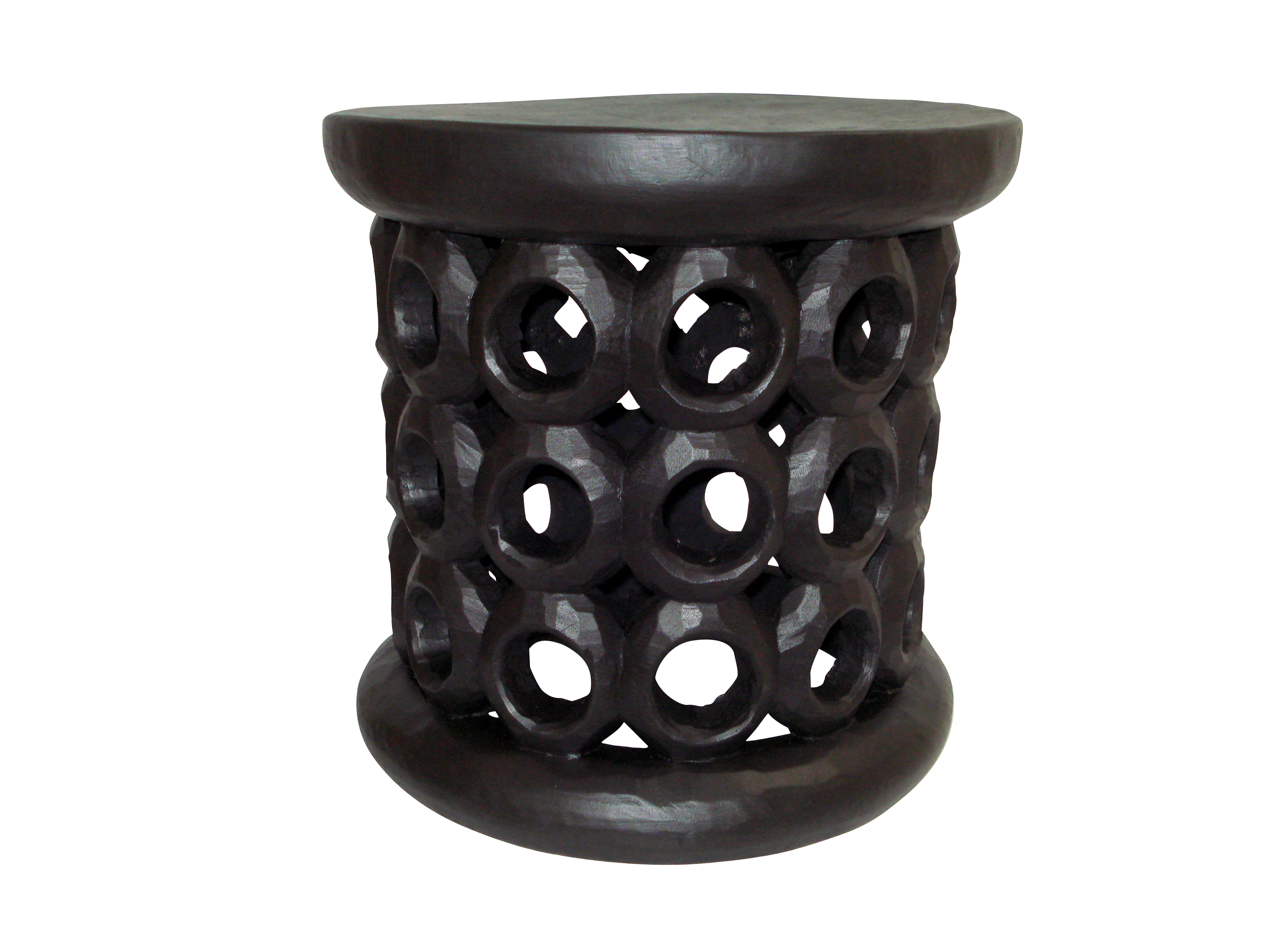 Bamileke Table with Circles – Black