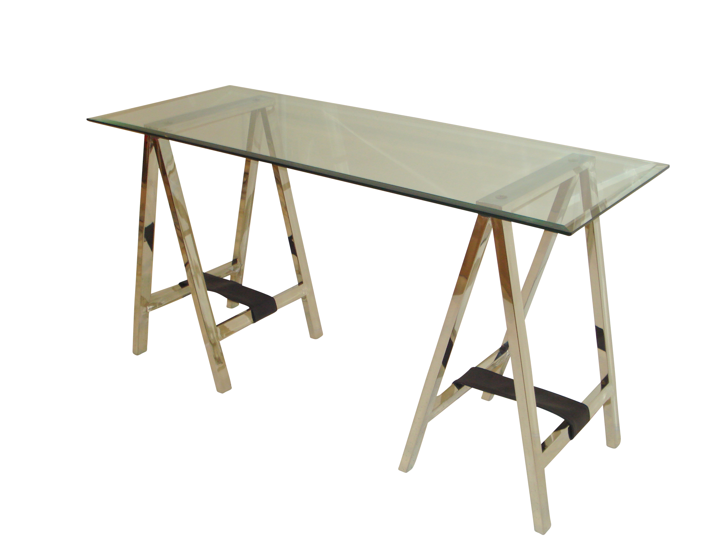 Stainless Steel Folding Trestle Table with Leather Strap