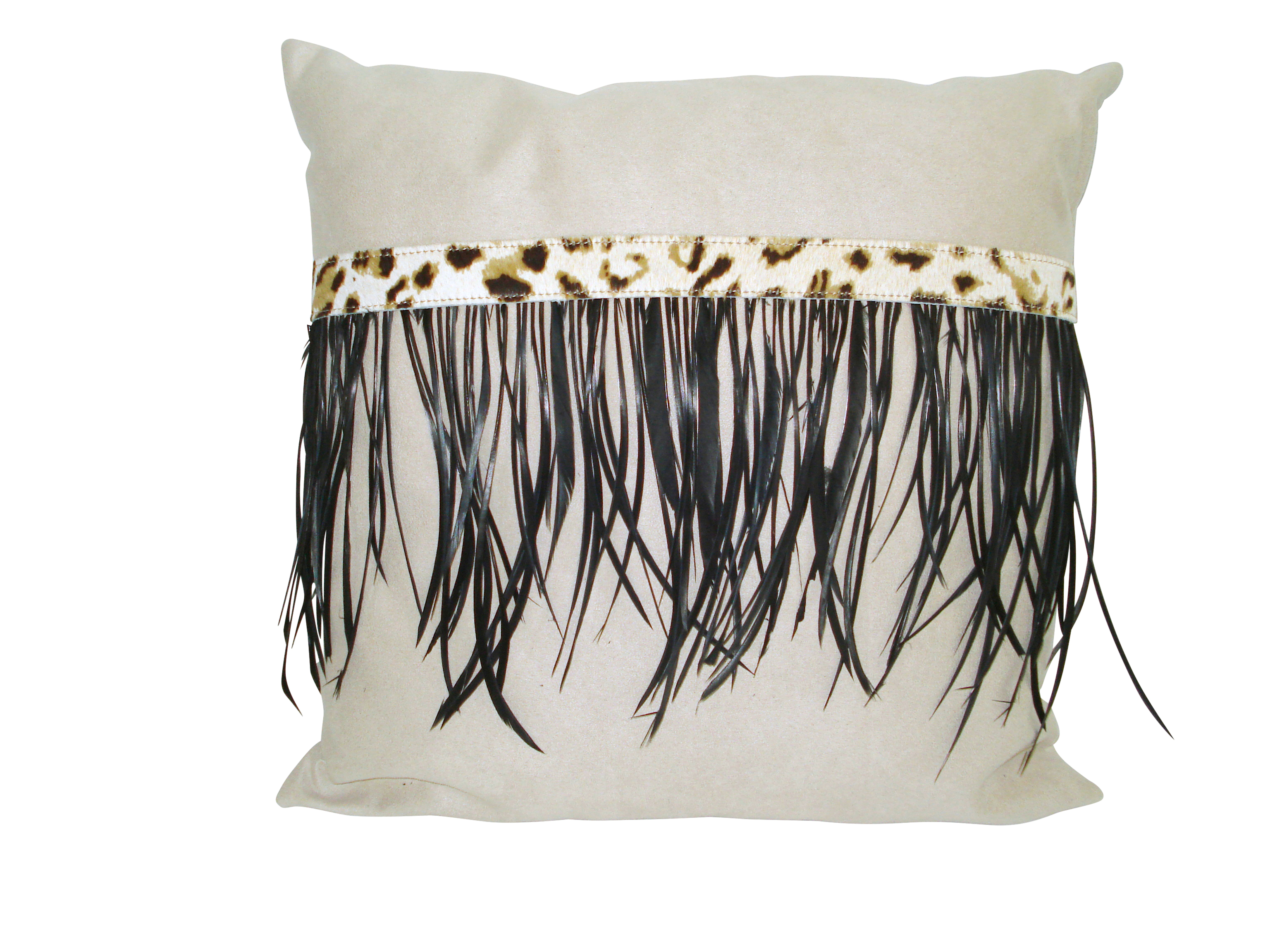 Mock Suede Cushion Leopard Print and Black Goose Feathers
