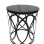 Black Drum Side Table with Granite Top
